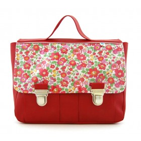 Cartable rouge en liberty