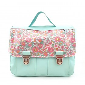 Cartable fille menthe en liberty Cupcake