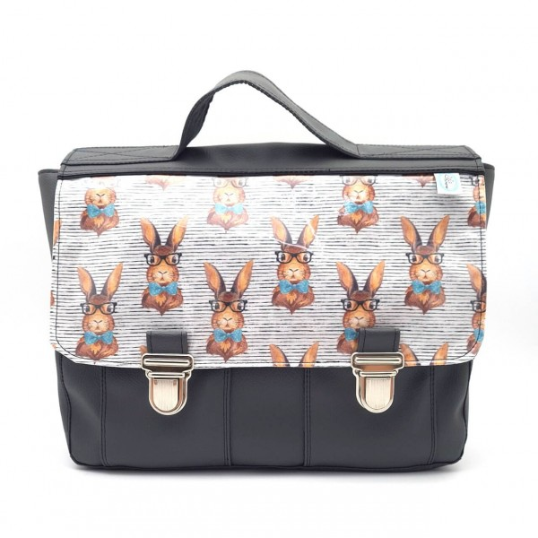 Cartable maternelle gris lapins hipster